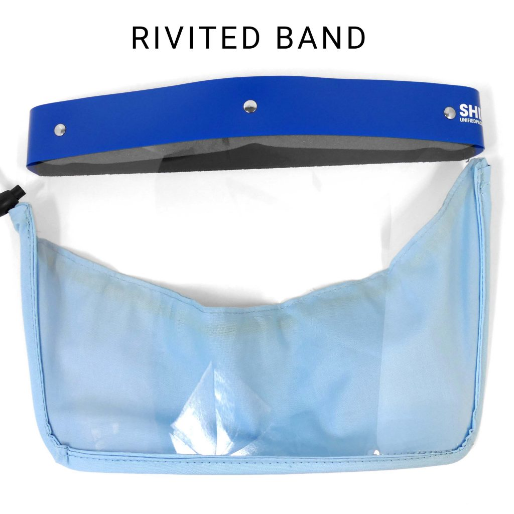 Adult Unified full face protective shield with rivited band